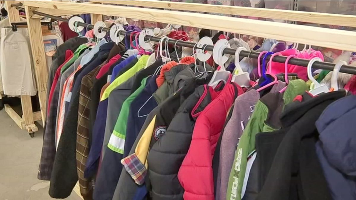 A rack of clothes available to free to foster kids (via ABC 13).