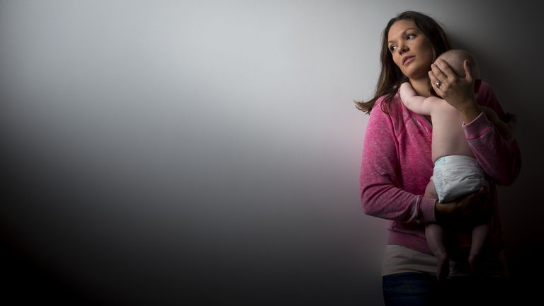 A mother suffering from postpartum depression